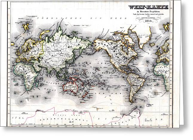Greeting Card featuring the photograph 1850 Antique World Map Welt Karte In Mercators Projektion by Karon Melillo DeVega