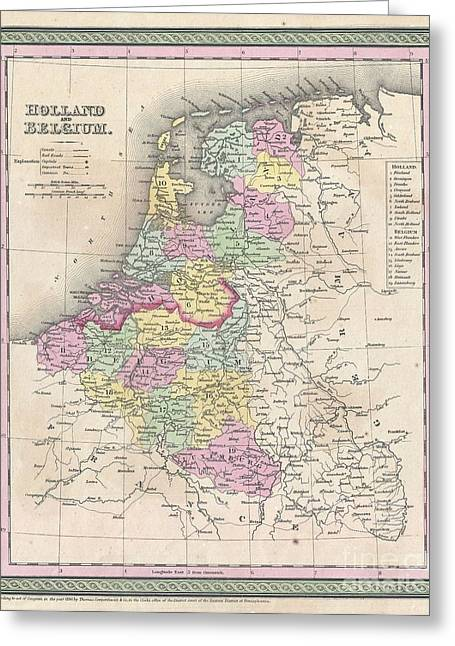 1850 Mitchell Map Of Holland And Belgium Greeting Card by Paul Fearn