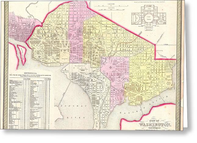 1850 Mitchell Map Of Washington Dc And Georgetown Greeting Card