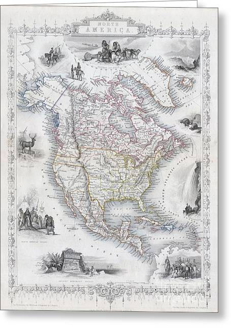 1850 Tallis Map Of North America  Greeting Card by Paul Fearn