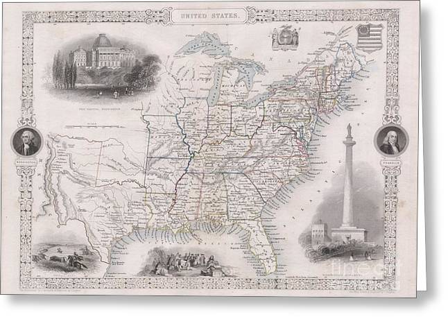 1850 Tallis Map Of The United States Greeting Card by Paul Fearn