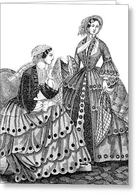 1850s Engraving Of Womens Fashions Greeting Card
