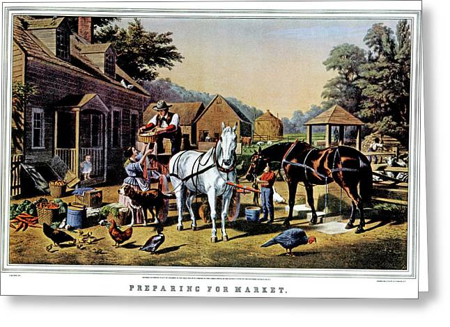 1850s Preparing For Market - Currier & Greeting Card