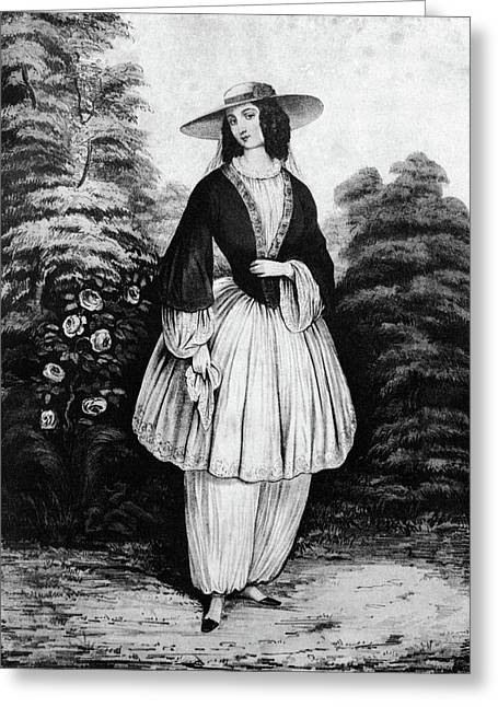 1850s Woman Wearing The Bloomer Costume Greeting Card