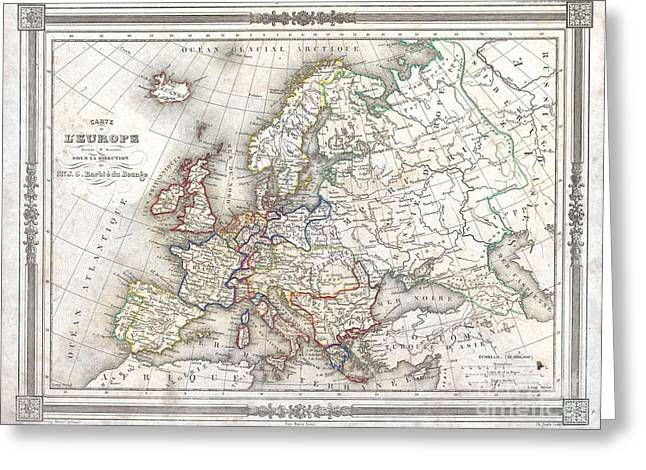 1852 Barbie Du Bocage Map Of Europe Greeting Card