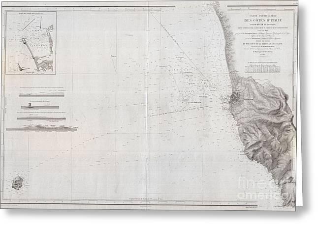 1852 Depot De La Marine Nautical Chart Or Map Of Livorno Tuscany Italy  Greeting Card