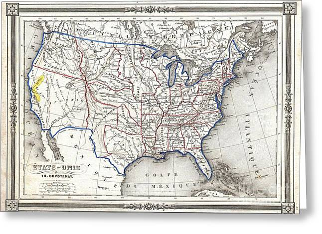 1852 Duvotenay Map Of The United States Greeting Card by Paul Fearn