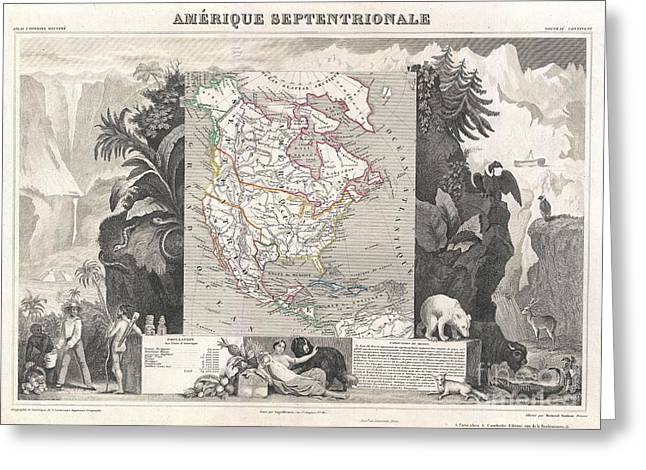 1852 Levasseur Map Of North America  Greeting Card by Paul Fearn