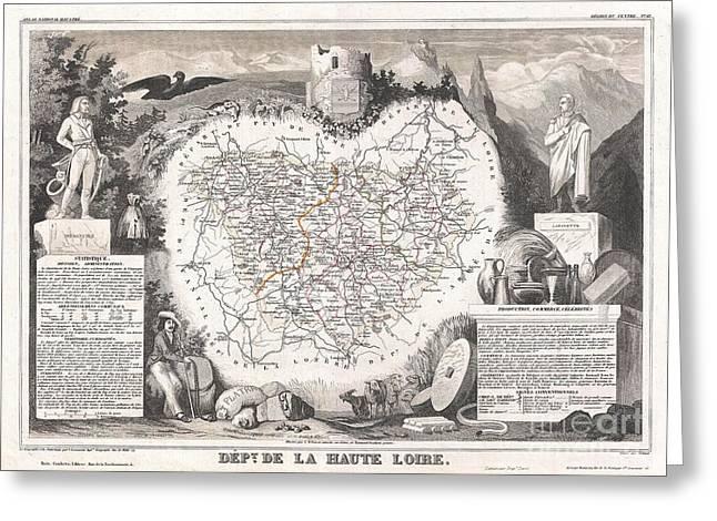 1852 Levasseur Map Of The Department De La Haute Loire France Loire Valley Region Greeting Card by Paul Fearn