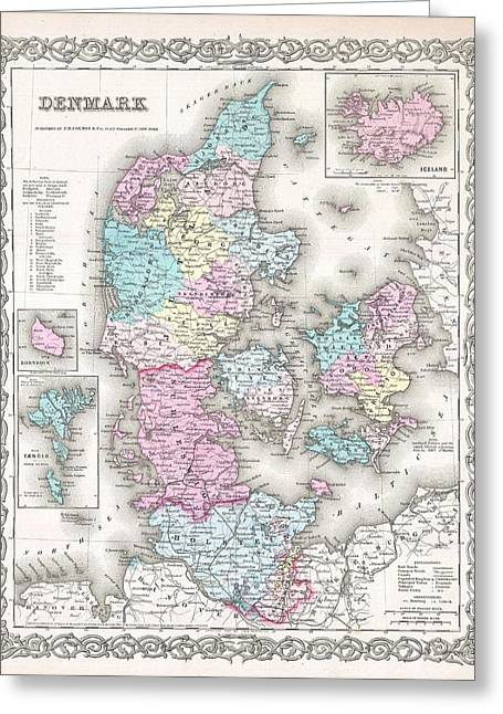 1855 Colton Map Of Denmark Greeting Card by Paul Fearn