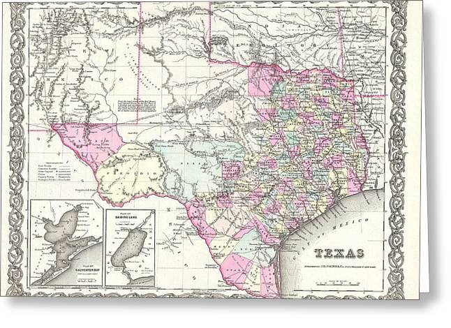 1855 Colton Map Of Texas Greeting Card by Paul Fearn