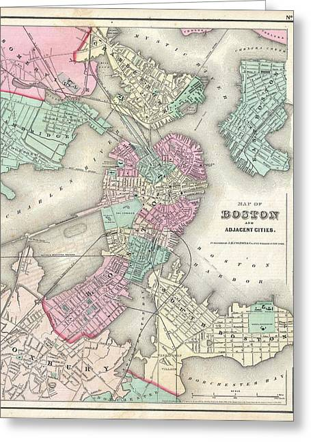 1857 Colton Map Of Boston Massachusetts Greeting Card