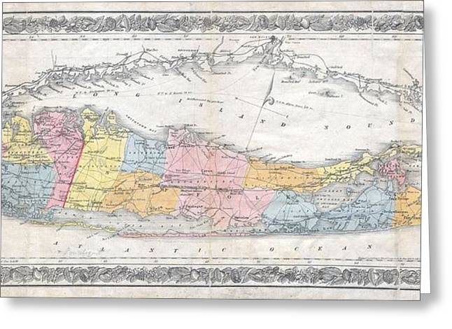 1857 Colton Travellers Map Of Long Island New York Greeting Card by Paul Fearn