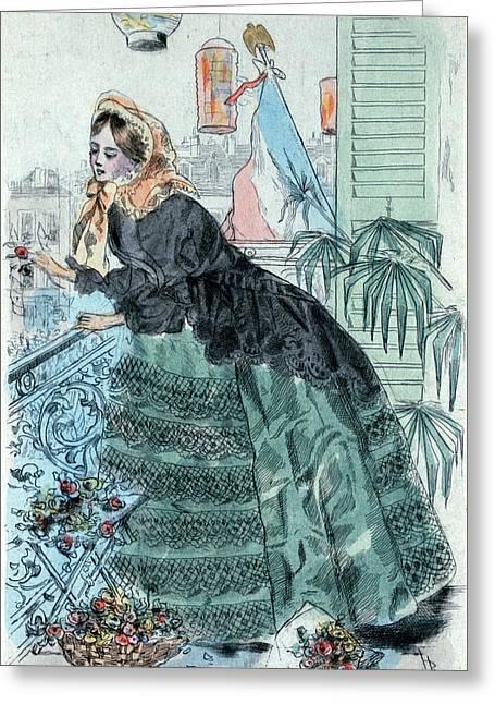 1859, Womens Fashion In Nineteenth-century Paris Greeting Card