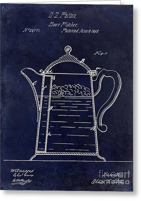1860 Beer Pitcher Patent Drawing Blue Greeting Card by Jon Neidert