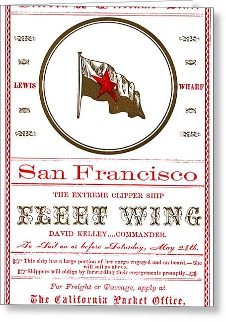 1860 Clipper Ship Fleet Wing Greeting Card