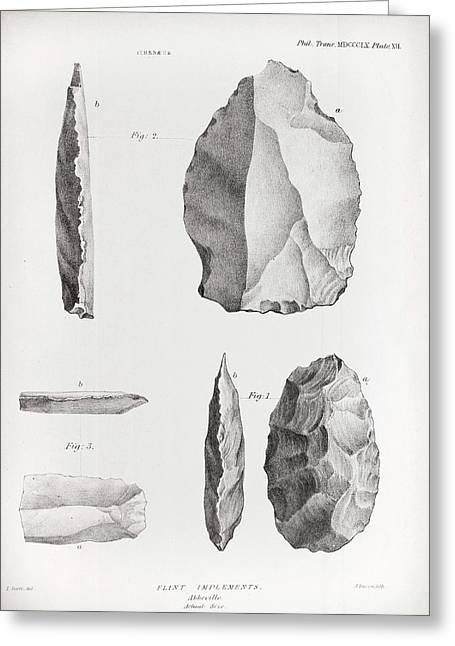 1860 Flint Implements Prestwich Article Greeting Card