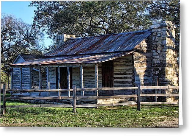 1860 Log Cabins Greeting Card by Linda Phelps