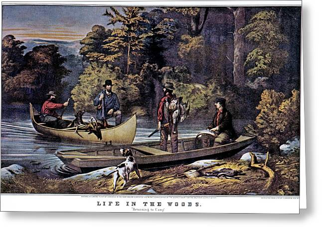 1860s Life In The Woods - Hunters Greeting Card