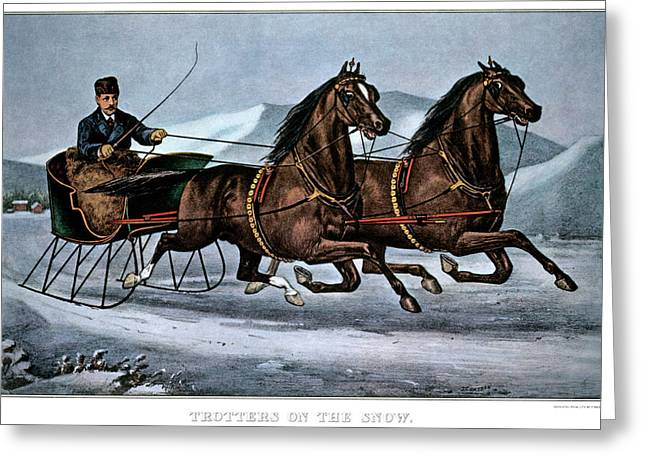 1860s Trotters On The Snow - Currier & Greeting Card