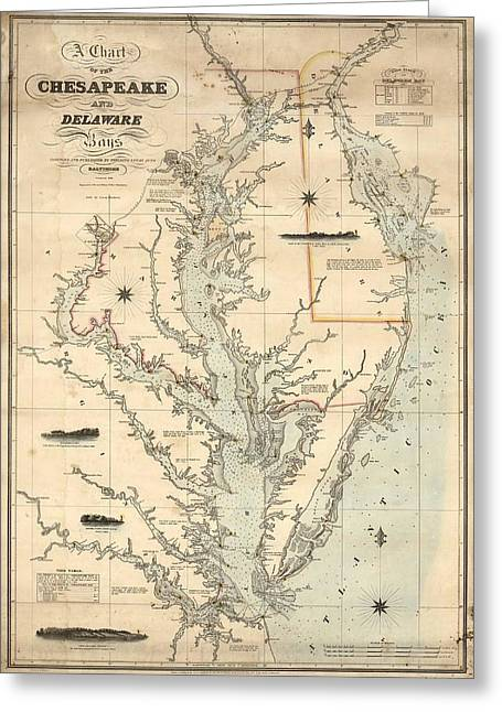 1862 Chesapeake Bay Map Greeting Card by Dan Sproul
