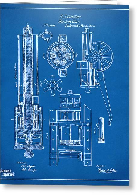 1862 Gatling Gun Patent Artwork - Blueprint Greeting Card by Nikki Marie Smith