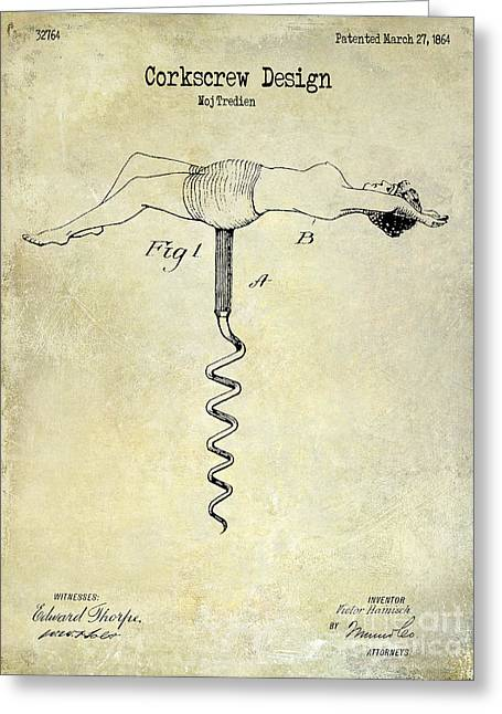 1864 Nude Corkscrew Patent Drawing  Greeting Card by Jon Neidert