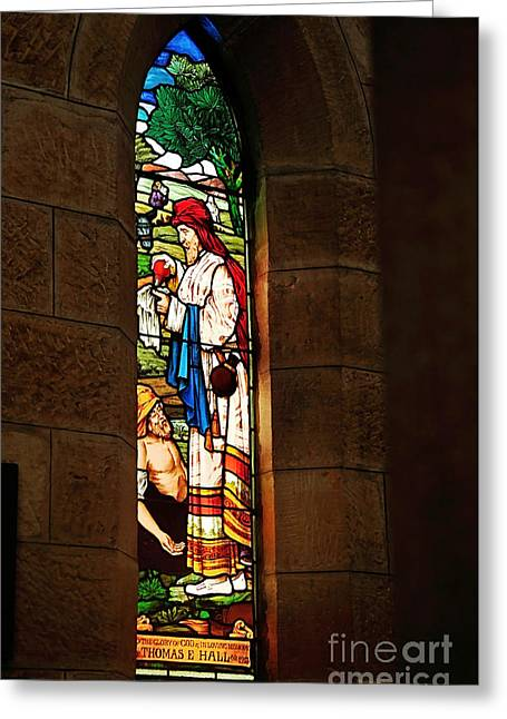 1865 - St. Jude's Church  - Stained Glass Window Greeting Card by Kaye Menner