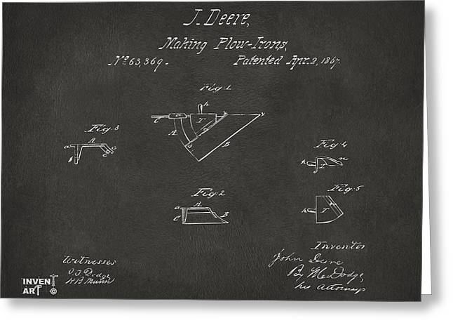 1867 John Deere Plow Irons Patent Gray H Greeting Card