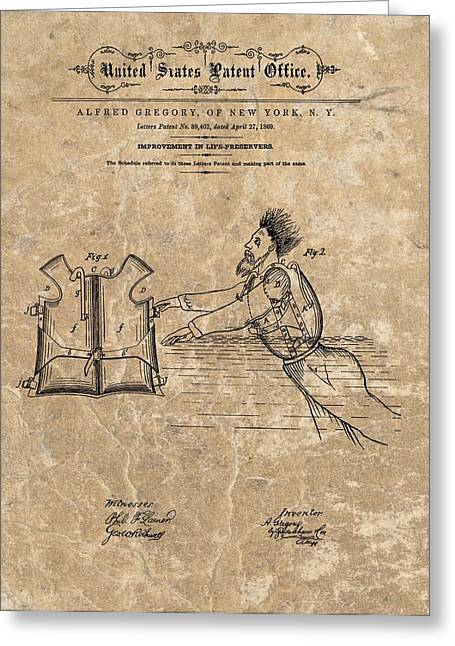 1869 Life Preserver Patent Greeting Card by Dan Sproul