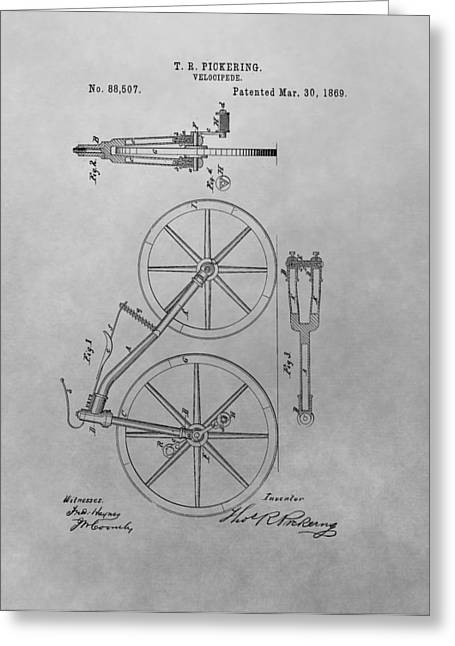1869 Velocipede Patent Drawing Greeting Card