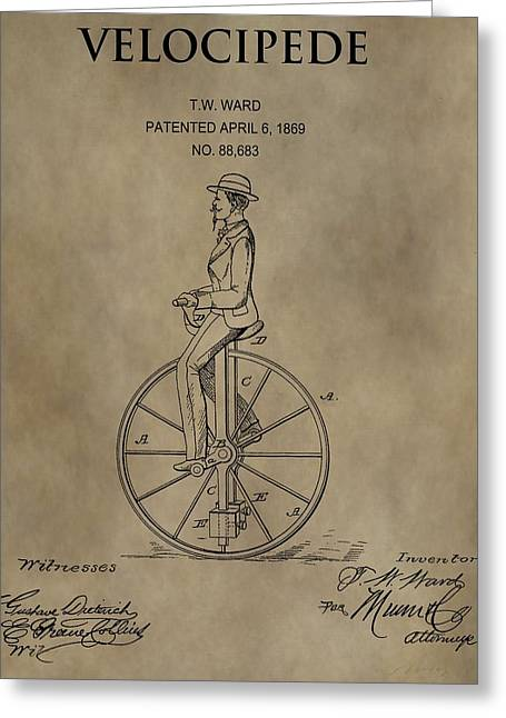 1869 Velocipede Unicycle Patent Greeting Card