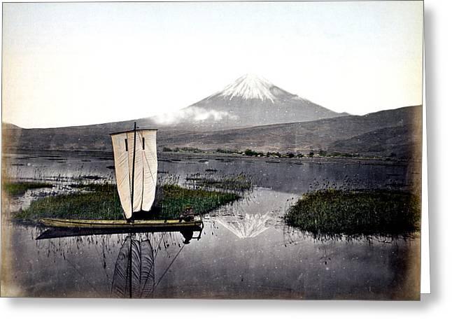 1870 Fisherman And Mount Fuji Japan Greeting Card