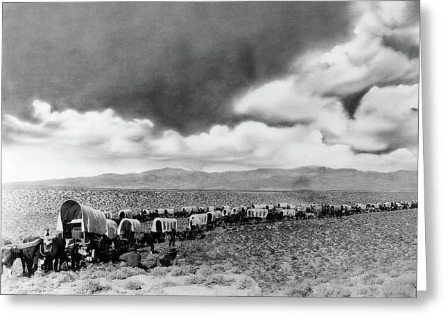 1870s 1880s Montage Of Covered Wagons Greeting Card