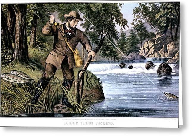 1870s Brook Trout Fishing - Currier & Greeting Card