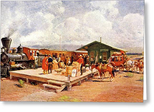 1870s Early Railroad Commerce Travel Greeting Card