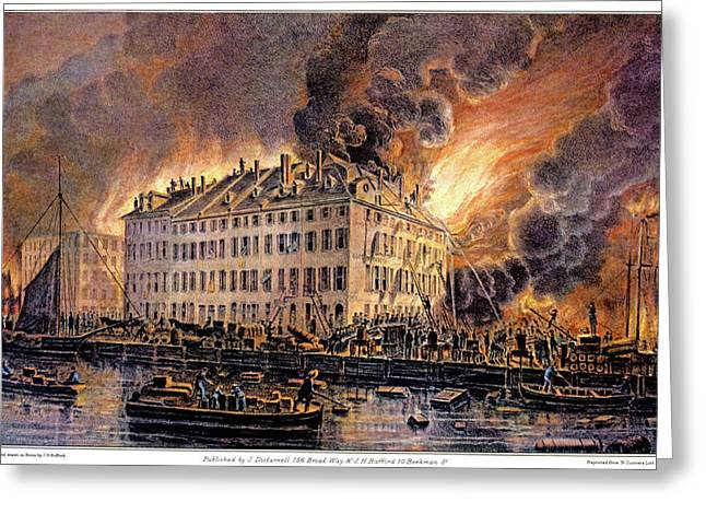 1870s Great Fire At Boston By H.j Greeting Card