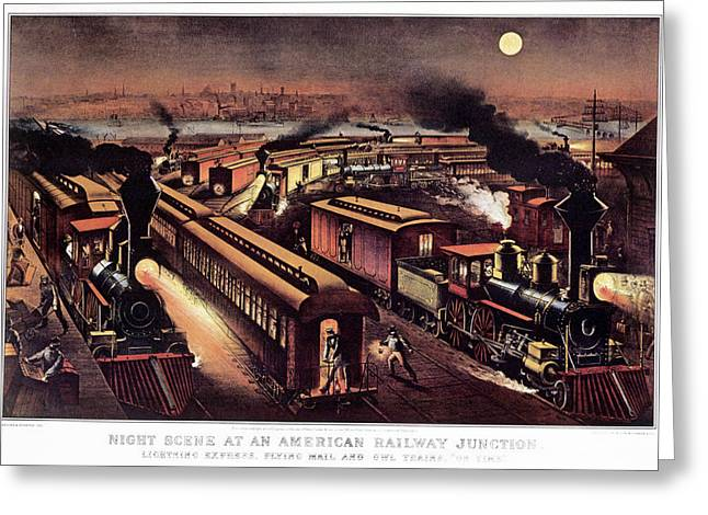 1870s Night Scene At An American Greeting Card