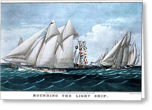1870s Rounding The Light Ship - Greeting Card