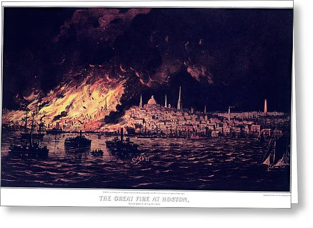 1870s The Great Fire At Boston - Greeting Card