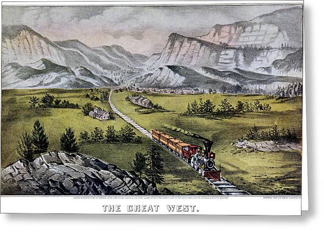 1870s The Great West - Currier & Ives Greeting Card