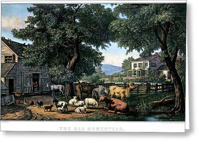 1870s The Old Homestead - Painting By F Greeting Card