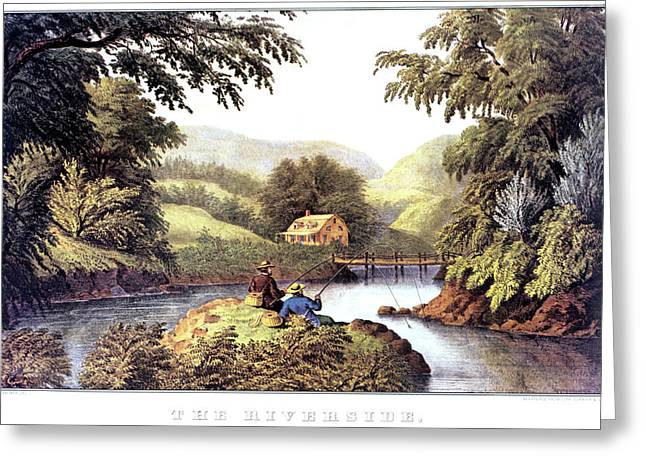1870s The Riverside - Painting By F F Greeting Card