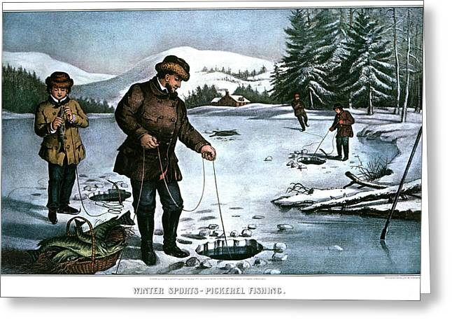 1870s Winter Sports Pickerel Fishing - Greeting Card