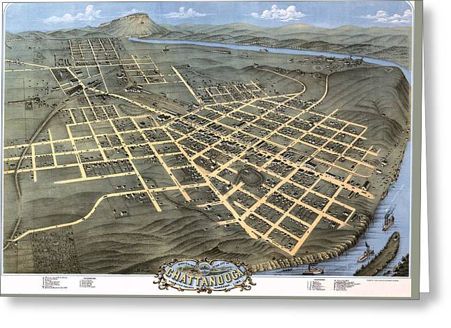 1871 Birds Eye Map Of Chattanooga Greeting Card