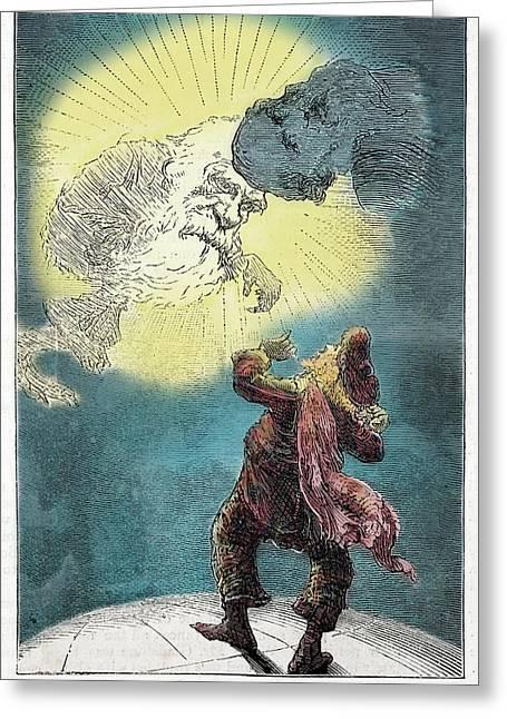 1871 Charles Darwin Monkey Versus Kelvin Greeting Card