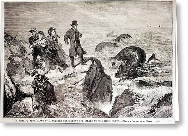 1871 Kilkee Irish Sea Monster Serpent Greeting Card