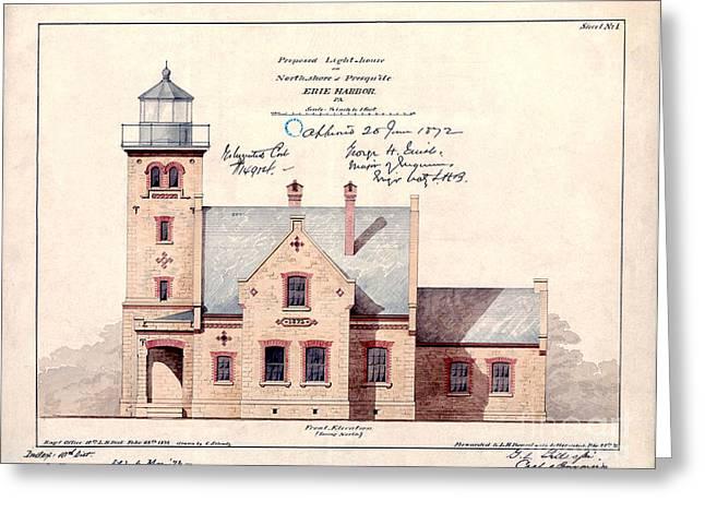 1872 Erie Harbor Lighthouse Greeting Card by Jon Neidert