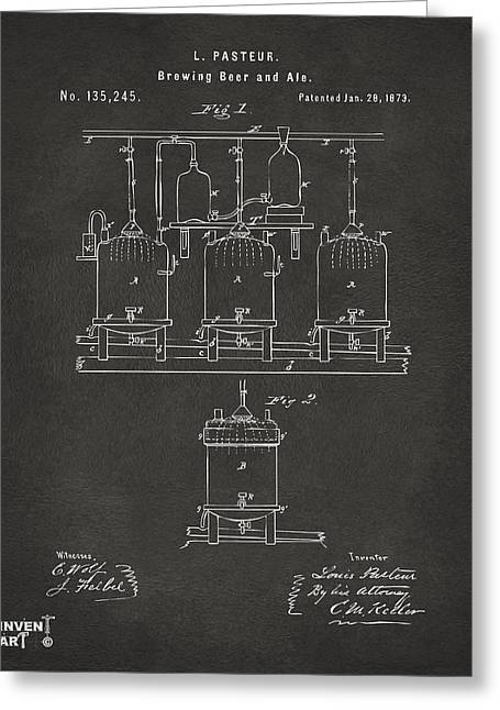 1873 Brewing Beer And Ale Patent Artwork - Gray Greeting Card by Nikki Marie Smith