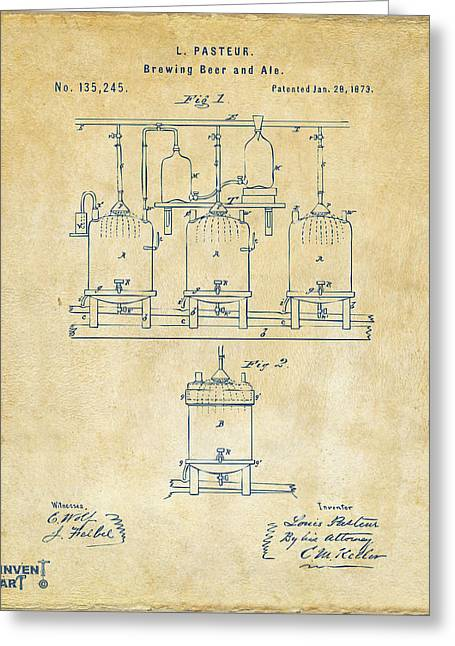 1873 Brewing Beer And Ale Patent Artwork - Vintage Greeting Card by Nikki Marie Smith